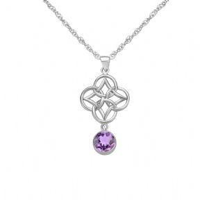 Celtic Knot Silver Pendant with Amethyst 9346
